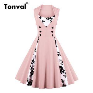 Tonval 5XL Plus Size Vintage Rockabilly Robe rose femmes Contraste Bouton floral Robe élégante Tunique Balançoire