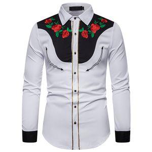 Erkek Elbise Gömlek Erkekler Için 2021 Şık Batı Tarzı Gömlek Tasarım Nakış Slim Fit Rahat Uzun Kollu Erkek Giyim AB
