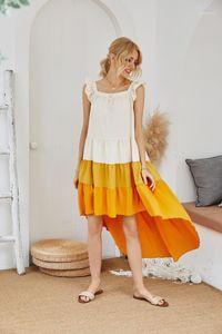 Плиссированные рукавов площади шеи платье желтого кека лето Женщины Повседневная одежда листьев лотоса Hi-Lo Женские платья