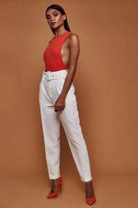 Hirigin High Waist Office Lady Casual Pencil Pant Elegant Women Career Trousers with Belt Elastic Drawstring Pantalon Femme