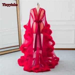 Gelin Boudoir Robe Kırmızı Tüy Trim Gelin Şeffaf Robe Tül Illusion Uzun Doğum Tüy Robe Kostüm Homecoming Parti Elbise CX200721