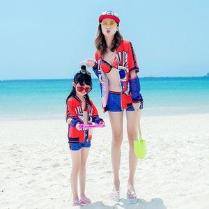 women's steel chest-holding set bikini three-piece split boxer Bikini swimsuit girls' hot spring parent-child swimsuit