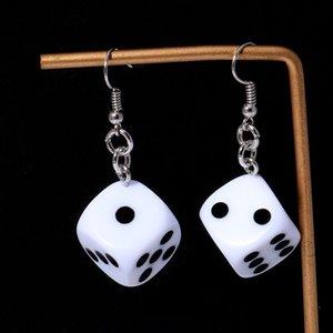 Funny Acrylic 3D Dice Pendant Earrings Dangle Necklace Cool Punk Drop Earring Tassel Casino Women Men Jewelry Personality Fun