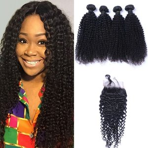 Indian Kinky Curly Hair 4 Bundles With 4x4 Lace Closure Human Hair Weave Bundles with Closure 1B# Hair Extension