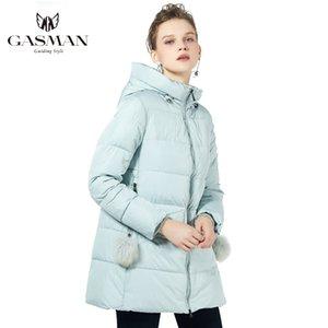 Gasman 2020 Yeni Kış Koleksiyonu Kapşonlu Kadınlar Parkas bir çizgi Coat Windproof Kadın Moda Kış Kalın ceketler Aşağı Marka 18833