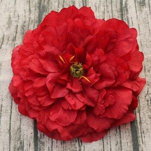 Antecedentes de la flor artificial grande 16CM Cabeza del Peony de seda de la flor DIY de la pared decoración de la boda de Rose de seda