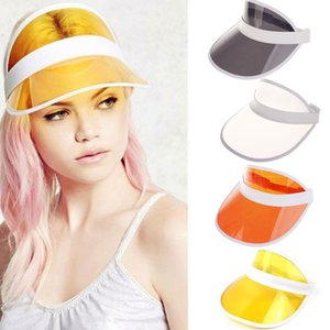 Unisex Summer Neon Sun Visor Hat For Golf Sport Tennis Headband Cap 10colors Casual Sun Hat Transparent Elastic Girls Sunscreen Cap OOA8196