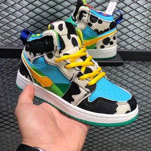 2020 New ice cream Kids 1s Space Jam Bred Concord Gym Red Basketball Shoes Children Boy Girls youth Sneakers Toddlers