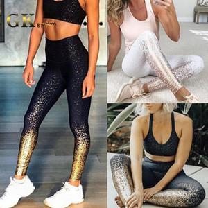 Gymkm Donne Sport Leggings timbratura calda sulle natiche Gradiente Individualità Lady Gym alzate Sport Fitness abbigliamento Workout