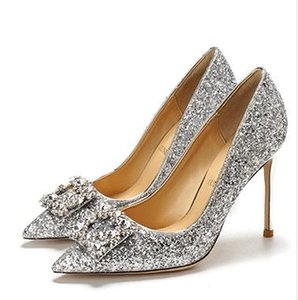 Fashion Women Shoes High Heels Gold Silver Red Gorgeous Rhinestone Sequined Bridal Wedding Shoes Size 34 To 41 Tradingbear