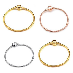3mm 17-21cm Gold Silver rose gold Plated Bracelet Snake Chain with Barrel Clasp Fit European Beads For Bracelet With Without Logo