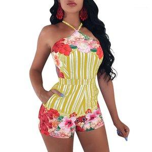 A righe e floreale delle tute sexy Summer Open indietro Abbigliamento Street Style fasciatura Shorts pagliaccetti del progettista delle donne