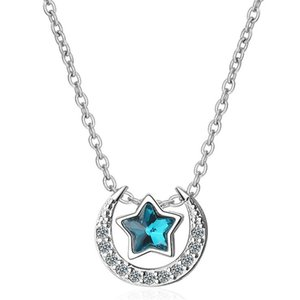 Blue Stars Moon Necklaces For Women Pendant Cocktail Party Fashion Jewelry Cubic Zirconia Accessories Classic 332