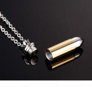 R 5colors Men Titanium Steel Urn Necklaces Cremation Case Perfume Bottle Bullet Pendant Chains Necklace Women Jewelry Can Be Open Put I