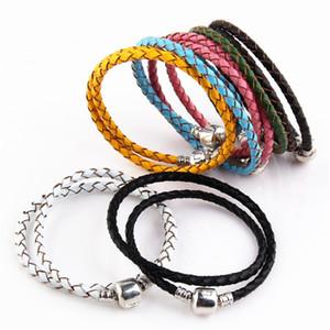De haute qualité Fine Jewelry tissé 100% véritable taille Mix Bracelet en cuir 925 fermoir en argent Perle Convient Charms Pandor Bracelet bricolage Marki