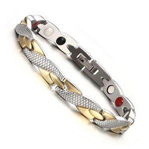 Stainless Steel Ladies Magnetic Bracelet Twist Health Strength Treatment Magnet Magnetite Bracelet Men's Health Jewelry