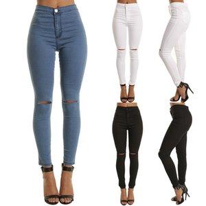 2020 Женщина Джинсового карандаш штаны Причинного высокая талия джинсы Женщина Sexy Ripped Hole Vintage Solid Stretch тренировки Тощая мама Jeans