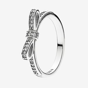 Clear CZ Diamond Classic Bow Anel Mulheres Meninas Verão Jóias Para Pandora Real 925 Anéis de Prata Esterlina Com Caixa Original