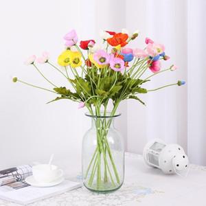 4 têtes / branche Fleurs Faux avec des feuilles artificielles Fleurs Branche Fleurs artificielles pour le Parti Décoration Flores Coquelicots
