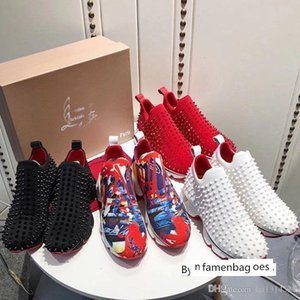 Luxury designer Men Casual Sneakers Women Classic Branded Red Bottom Rhinestones Party Wedding Top Quality Spike Sock Donn Neopren