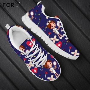 Kadınlar Lacivert Bayan Marka Spor Ayakkabılar için FORUDESIGNS 2020 Yeni Casual Kadın Flats Ayakkabı Sevimli Karikatür Hemşirelik Ayakkabı