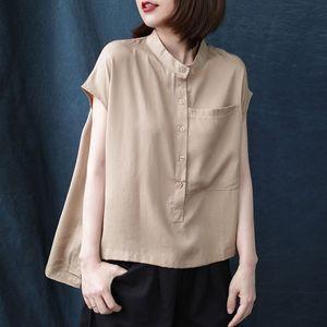 QPFJQD signore stile coreano con tasche e bottoni irregolare Pullovers 2020 Loose Women comodi supera le camicette Estate