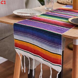 Tischläufer 14 x 84 Zoll bunte gestreifte mexikanische Sierpe Decke Partei Hochzeit Dekorationen Fringe Baumwoll-Tischläufer Tischdecke BWE204