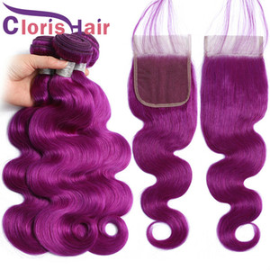 Raw Virgin Indian Body Wave Colored Weaves 3 Bundles With Lace Closure Natural Hairline Purple Human Hair Wavy Extensions And Top Closures