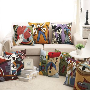 100% Cotton Picasso Style Embroidered Square Pillow Case Sofa Cushion Cover For Car Chair Cushion Case 45x45cm Without Stuffing T200624
