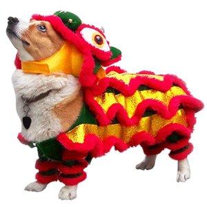 China divertida de Halloween ropa para perros de Año Nuevo mascotas traje de danza del dragón Lion Dog Party Lion Dance festivo rojo afortunado del gato ropa T200710