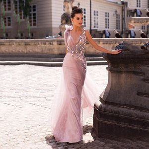 Pink Prom Dress Sexy Sleeveless Tulle Lace Applique Mermaid Long Prom Gowns Backless Floor Length Evening Gown graduation dress