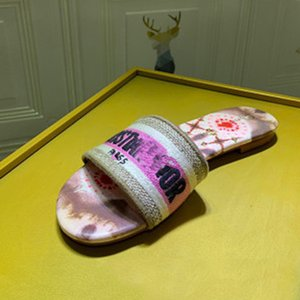 Top qualidade MULE Dway EN COTON BRODE SLIDE lusso Womens deslizador progettista Mulheres Sandals Top Quality Moda Calçados Xshfbcl