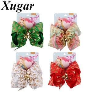 7 Inch Christmas Hair Bows Santa Twinkle Bells Dog Bows Printed Pompom jojo Siwa Girls New Year Party JOJO Hair Accessories