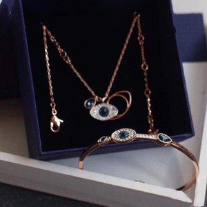 Дизайнер ювелирных изделий роскоши ювелирных изделий демон глаз ожерелье. Браслет, серьги, 925 серебряных природных алмазов инкрустированные с коробкой