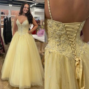 Plus Size 2020 Yellow SpaghettI Straps Prom Dresses with Sequins Beaded Lace-Up Back A-Line Quinceanera Sweet 16 girls Pageant Dress