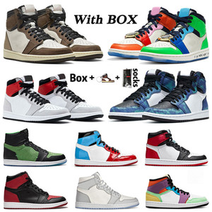 WITH BOX retro 1 aj 1s Travis mens womens basketball shoes Fearless Light Smoke Grey Tie Dye Cactus Jack Chicago Trainers Sneakers SIZE 12