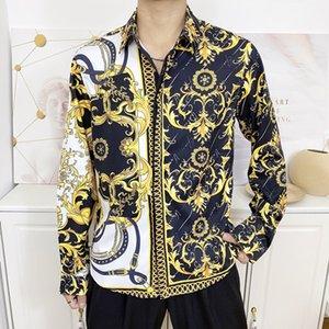 High Quality Men's Shirts Silk Cotton Slim Fit Casual Shirt Men Long Sleeves Medusa Shirts Black Gold Floral Print Mens Dress Shirts#11