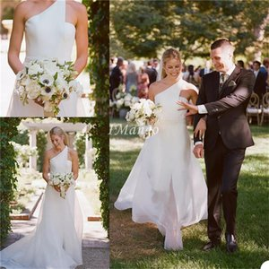 Chic Country Mermaid Wedding Dresses One Shoulder Boho Beach Bridal Gowns With Front Split Sweep Train Robe De Mairee