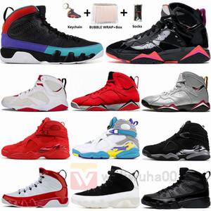 Jumpman 9 9s Мечта Это Do UNC 8 8s Quai SOUTH BEACH Playoff 7 7s черные лакированные Бордо Hare Mens Basketball обувь Размер 13 с коробкой