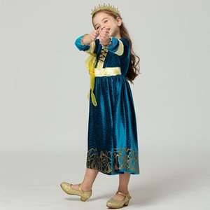 Brave Merida Dress Costume for Girls Christmas Birthday Kids Long Sleeve Vellet Green Party Gowns Princess Merida Hair Wig Dress T200709