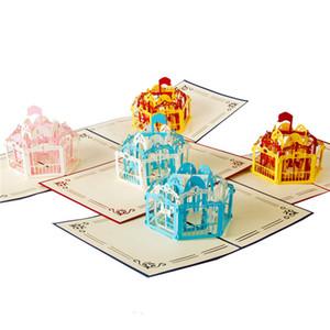 3D Laser Cut scultura Handmade Merry-Go-Round Shape Whirligig carta Invito Greeting Card PostCard Bambini Bambini del regalo di compleanno