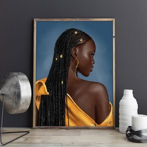 Pop Art Sexy African Woman Portrait Peinture à l'huile sur toile Wall Art Poster Prints Mur Mode Photo pour Salon Home Decor Cuadros