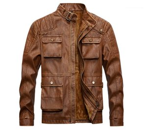 Size Washed Multi Pocket PU Jackets New Mens Winter Fleece Coats Vintage Mens Designer Jacket Fashion Plus