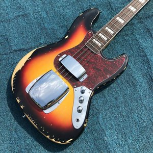 Heavy Relics Jazz Bass Electric Guitar Sunburs Features Al Xylophone Body 100% Handmade Nitro Lacquered Aged Hardware Free Shipping