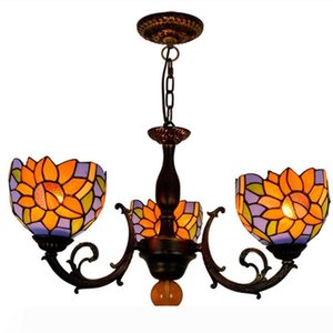 American pastoral creative Tiffany stained glass blue sun flower personality restaurant decoration three-headed glass chandelier TF007