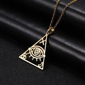 Skyrim Golden Pyramid Egyptian Evil Eye Anhänger Halskette Edelstahl Adjustable Amulett Ketten-Halsketten-Schmucksachen für Frauen