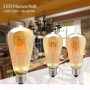 4W 6W 8W Dimmable COB LED Vintage Нить ретро лампы 220V 110V ST64 2200K 27000K Нить лампы Vintage освещения