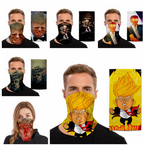 Funny Trump Face Mask Washable Printing Dustproof Masks Outdoor Cycling Neck Magic Cycling Scarf Party Masks Supplies 14styles RRA3311