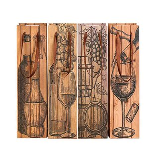 Vinho do vintage Bolsas Durable grão de madeira revestido Bottle Tote Bolsa Thicken Wine Red Paper Bag de alta qualidade