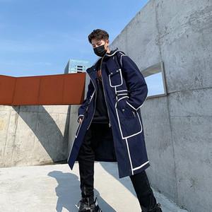 FmH8E 2019 Осень средней длины Ветер национальности Coat национальности улица контраст линия ветровка пальто мужские с капюшоном модный бренд мужской н